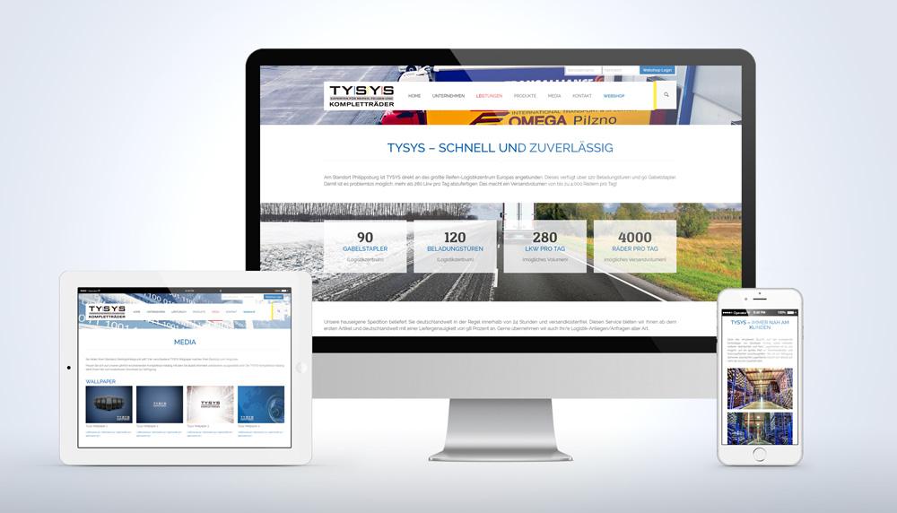 Tysys Website auf verschiedenen Endgeräten