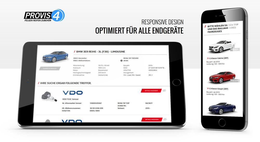 Konfigurator auf einem Tablet und Smartphone